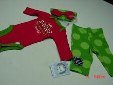 NWT 3 piece Infant Girls Gerber Onesie Pants Hat Holiday Christmas Santa Cute