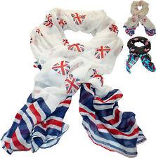 Long Scarf Shawl Stola Neckie Kerchief England Union Jack Hearts White Black