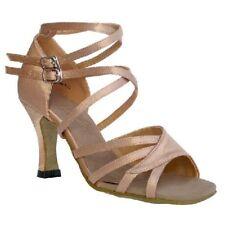"""Salsa Latin Dance Shoes Brown Satin heel 3"""" Sz 7"""