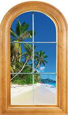 Sticker fenêtre vouté trompe l'oeil déco Palmier plage réf 637