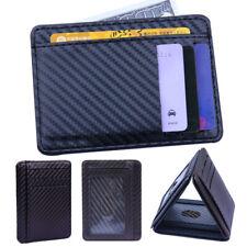 Clip Leather Credit Mens  Slim Holder Coin Card Blocking Wallet Money