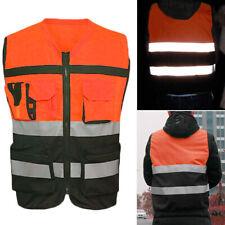 Safety Vest Pockets High Visibility Reflective Zipper Front  Construction Suit