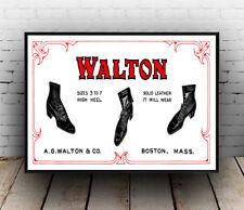 Walton Shoes : Vintage Footwear advertising , Wall art ,poster, Reproduction.