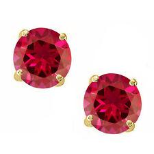 Round Cut Cubic Zirconia Ruby 14k YGP Sterling Silver July Stud Basket Earrings