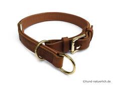 Zugstopp Lederhalsband für Hunde cognac hellbraun, Messing Leder Hundehalsband