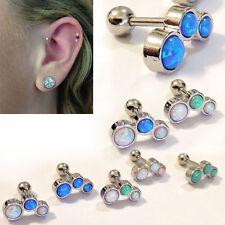 18G 12mm Length 3 Opal Bent Helix Cartilage Ear Piercing Silver Steel Bar Set US