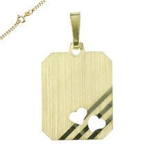 Anhänger Gravurplatte mit 2 Herzen matt 333 Gold auch mit Kette und Wunschgravur