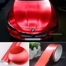 Red Car Brushed ALUMINUM Matte Chrome Satin Metal Steel Vinyl Wrap Sticker AB