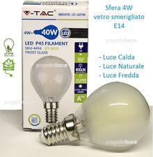 LAMPADINA LED E14 FILAMENTO LAMPADA 4W SFERA FROST  SMERIGLIATA LUCE LED