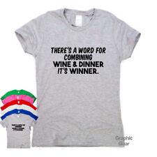 Vino y cena Divertido Camisetas Regalo impresionante para hombre para mujer sarcástico Slogan Tee