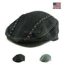 Mens Womens Kids Unisex Gatsby Stitch Cotton Vintage Jean Newsboy Cabbie Cap Hat