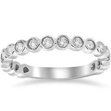 1/2ct Stackable Bezel Diamond Wedding Ring 14K White Gold Anniversary Band