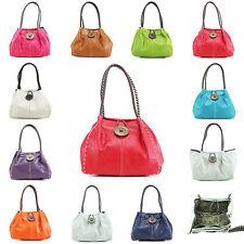 New Ladies Large Button Shoulder Bag Stitching Detail Women Handbag Girls Bags