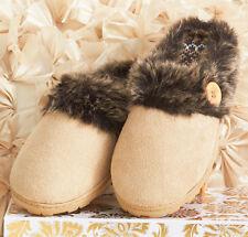 Memory Foam Slippers with Fur Trim M 7/8 Tan Womens Indoor/Outdoor