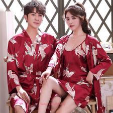 Womens Mens Silk Satin Pajamas Set Robe Nightgown Sleepwear Nightwear Loungewear