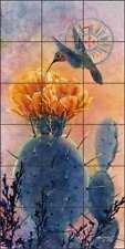 Southwest Tile Backsplash Ceramic Mural Morrow Hummingbird Cactus Art RW-KM010