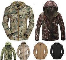 Men 100% Waterproof Soft shell Hood Jacket hunting Hiking Military Tactical Coat