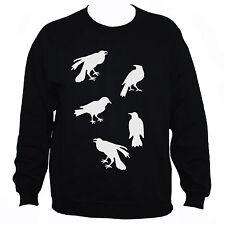 Crows Sweatshirt Men/Women Bird Goth Tattoo Rockabilly Graphic Jumper Black/Grey
