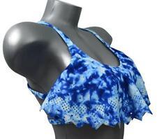New Victoria's Secret Flounce Crop Bikini Top L White Blue 38A 38B 38C 36C 36D