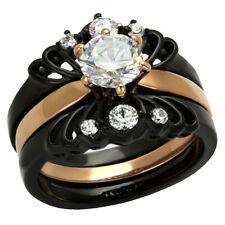 Black/Rose Gold IP Stainless Steel Round Cubic Zirconia Wedding Ring Set sz 5-10