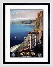 TRAVEL Taormina Etna Sicilia Teatro Greco Italia Vintage Incorniciato Stampa Artistica b12x097