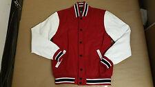 Orisue Men's Davis Baseball Jacket Gray Black / Red White Size S-2XL