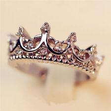 Princess Lady Silver Rhinestone Zircon Queen Crown Wedding Ring Lover Gift GQ