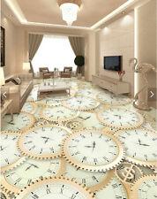 3D Lots Clock Time Machine Floor Mural Photo Flooring Wallpaper Print Home Decal