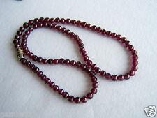 "Original Rojo Granate Piedra 5mm Collar 16 ""de largo 5 Mm Rojo Granate Perlas Naturales"