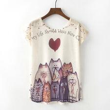 Lovely Women Summer O-Neck Blouse Cat&Heart Printed T-shirt Short Sleeve Tops