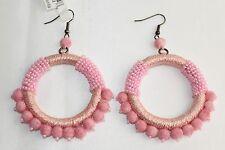 NEW Oscar de la Renta Beaded Circle Earring Pink Pom Pom HOOPS