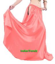 Salmon Satin Panel Full Circle Skirt Belly Dance Tribal Slit Gypsy Oriental