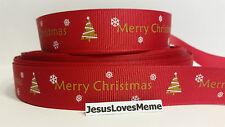 "Grosgrain Ribbon, Merry Christmas, Christmas Trees & Snowflakes on Red, 7/8"""
