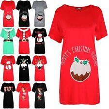 Womens Christmas Mummy's Pudding Baggy Short Sleeve Maternity Xmas T Shirt Dress