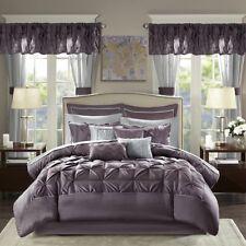 Elegant Plum Faux Silk Tufted Comforter Window Curtains 24 pcs Cal King Queen