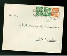 1936 Danzig airmail Cover 10 pf Coil Margin