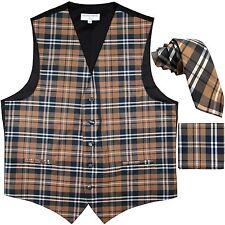 "New Men's Plaid Tuxedo Vest Waistcoat & 2.5"" Skinny Slim Necktie Set Brown prom"