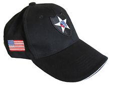 Nero Us 2nd Infantry Cappellino-GUERRIERO LOGO WW2 Esercito Americano Cappello Da Sole Nuovo