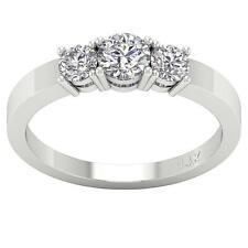 Round Diamond 3 Stone Engagement Ring I1 H 1.01Carat White Gold Prong Set 4.80MM
