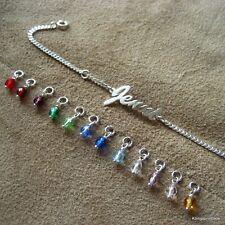 Babyarmband, Kinder Armband, Silber Namensarmband mit Monatsfarbe Glasperle