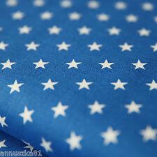Baumwollstoff Baumwolle Sterne Weiß 8mm Groß auf Royalblau mit Sternen