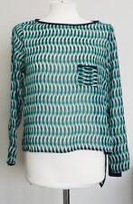 ZARA WOMAN Turquoise Blue Print Assymetric Mousseline Blouse Tunic Top UK M £ 29.99