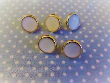 10mm Bianco & gold Dress Camicia Bottoni su un gambo in confezioni da 2, 5 o 10