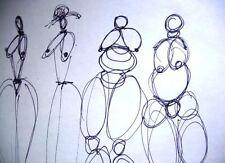 C Peterson ORIGINAL ART ink pen DRAWING = All Girl Choir = Impressionist figures