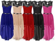 Womens Plus Size Floral Lace Belted Chiffon Asymmetric Hem Maxi Dresses