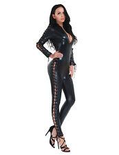 Damen Lackleder Wetlook Catsuit Jumpsuit Lace-up Overall Bodysuit Playsuit Club