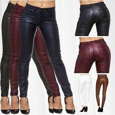 Damen Hose Leder Optik Jeggings Treggings Biker Jeans Sexy Stretch Skinny Röhre