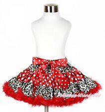 Xmas Leopard Red White Minnie Dots Pettiskirt Skirt Petti Dance Dress Girl 1-8Y