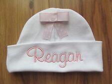 PERSONALIZED MONOGRAM CUSTOM Baby Newborn Hospital Hat Cap Beanie White Pink Bow