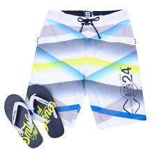 Smith & Jones Summer Beach Surf Swim Board Shorts & Flip Flop Set White Stripe
